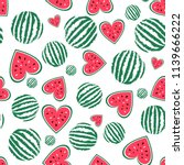 vector watermelon seamless... | Shutterstock .eps vector #1139666222