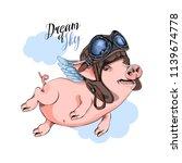 happy pig in a pilot's helmet... | Shutterstock .eps vector #1139674778