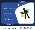 quality one page waiter serving ... | Shutterstock .eps vector #1139708036