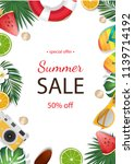 summer sale background with... | Shutterstock .eps vector #1139714192