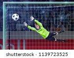 goalkeeper jumping for the ball ... | Shutterstock . vector #1139723525