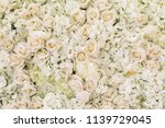 Stock photo many artificial white roses hydrangea peonies flower as background and decoration stock photo 1139729045