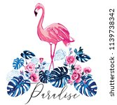 paradise flamingo and tropic... | Shutterstock .eps vector #1139738342