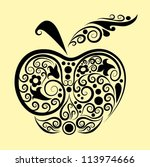 decorative apple ornament.... | Shutterstock .eps vector #113974666