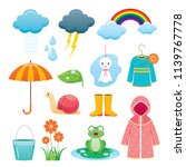 rainy season icons set  monsoon ... | Shutterstock .eps vector #1139767778