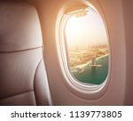 airplane interior with window... | Shutterstock . vector #1139773805