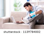 young student man with injury...   Shutterstock . vector #1139784002