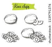 hand drawn sketch style kiwi...   Shutterstock .eps vector #1139791376