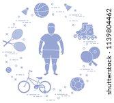 fat boy  badminton rackets and... | Shutterstock .eps vector #1139804462