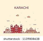 karachi skyline  pakistan.... | Shutterstock .eps vector #1139808638