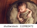 newborn baby in a round wood... | Shutterstock . vector #113982472