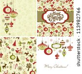 set of christmas retro... | Shutterstock .eps vector #113982766