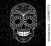 day of the dead black and white ... | Shutterstock .eps vector #113982775