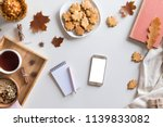 top view and flat lay of autumn ... | Shutterstock . vector #1139833082