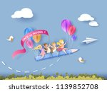 back to school 1 september card.... | Shutterstock .eps vector #1139852708