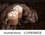 two glasses with cocoa  coffee...   Shutterstock . vector #1139858828