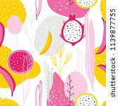 exotic colorful tropical fruits ... | Shutterstock .eps vector #1139877755
