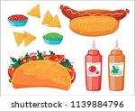 fast food set. vector...   Shutterstock .eps vector #1139884796