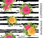 seamless striped style floral... | Shutterstock .eps vector #1139905025