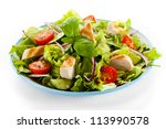cesar salad with roasted... | Shutterstock . vector #113990578