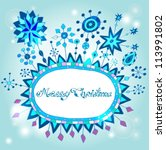 Christmas hand drawn background with place for text, cute illustration with snowflakes, vector - stock vector