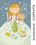 girl with cat evening dinner... | Shutterstock .eps vector #113991976