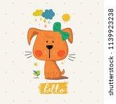 cute puppy.cartoon hand drawn... | Shutterstock .eps vector #1139923238