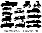 Stock vector big set of silhouettes of classical cars 113992378