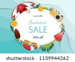summer sale banner vector... | Shutterstock .eps vector #1139944262