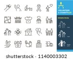 vector thin line icons related... | Shutterstock .eps vector #1140003302