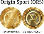 set of physical golden coin...   Shutterstock .eps vector #1140007652