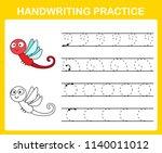 handwriting practice sheet... | Shutterstock .eps vector #1140011012