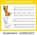 handwriting practice sheet... | Shutterstock .eps vector #1140011015