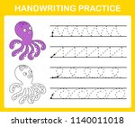 handwriting practice sheet... | Shutterstock .eps vector #1140011018