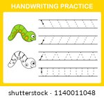 handwriting practice sheet... | Shutterstock .eps vector #1140011048