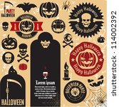 halloween party labels and...   Shutterstock .eps vector #114002392