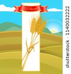 wheat cereal poster and nature... | Shutterstock .eps vector #1140032222