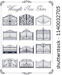 vector set of wrought iron gates   Shutterstock .eps vector #1140032705