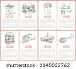 fast food hamburger and french...   Shutterstock .eps vector #1140032762