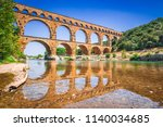 pont du gard three tiered... | Shutterstock . vector #1140034685