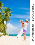 young couple on their honeymoon ... | Shutterstock . vector #1140034862