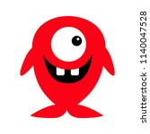 cute red monster icon. happy... | Shutterstock .eps vector #1140047528