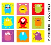 cute monster icon set. happy... | Shutterstock .eps vector #1140048515