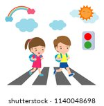 kids across the road  students... | Shutterstock .eps vector #1140048698
