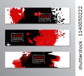 set of red and black paint  ink ... | Shutterstock .eps vector #1140050222