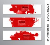 set of red paint  ink brush... | Shutterstock .eps vector #1140050225