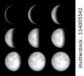 moon phases. vector. | Shutterstock .eps vector #114005542