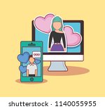 online dating design | Shutterstock .eps vector #1140055955