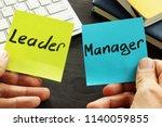 leader vs manager. man is... | Shutterstock . vector #1140059855