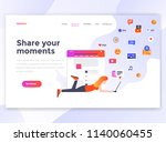 landing page template of share... | Shutterstock .eps vector #1140060455